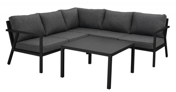 Garten Lounge Set RANA schwarz Sitzgruppe Eckgruppe Aluminium inkl. Sitz- und Rückenkissen