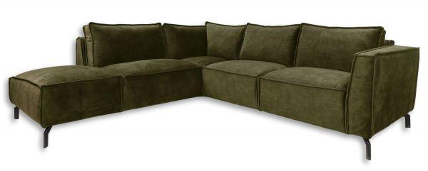Eckgarnitur Morgan 2,5 Sitzer Velour moosgrün Samt Couch Sofa Ecksofa Longchair links