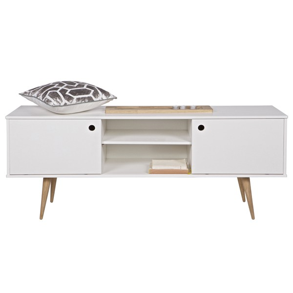 woood Retro TV Board Möbel Sideboard Lowboard weiß