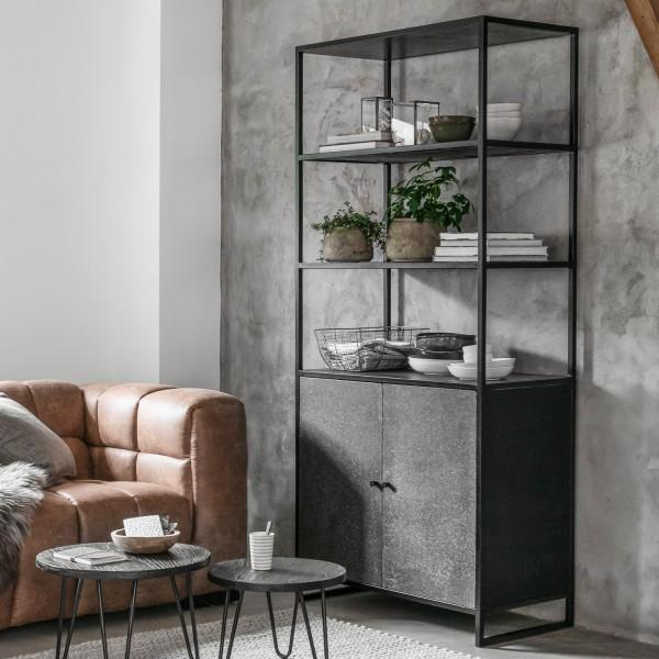MUST Living Bücherschrank Mont Ventoux H 197 cm Basalt schwarz