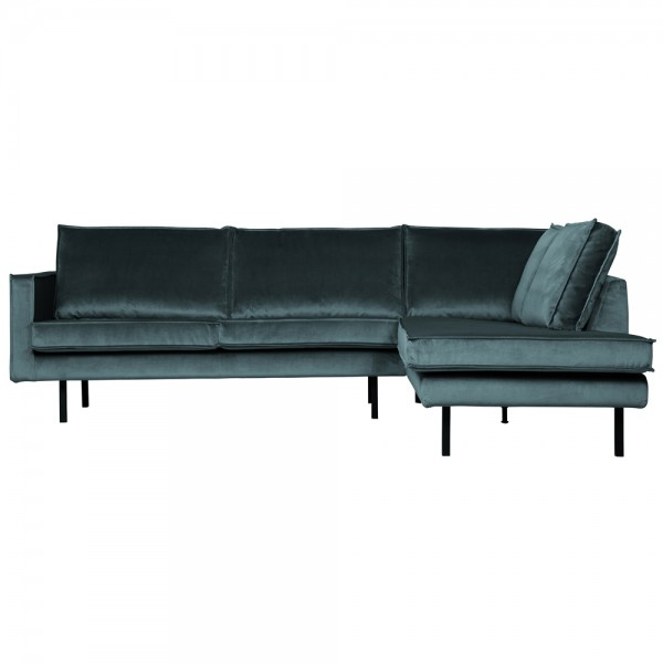 Eckgarnitur Rodeo Samt blaugrün Couch Sofa Ecksofa Longchair rechts