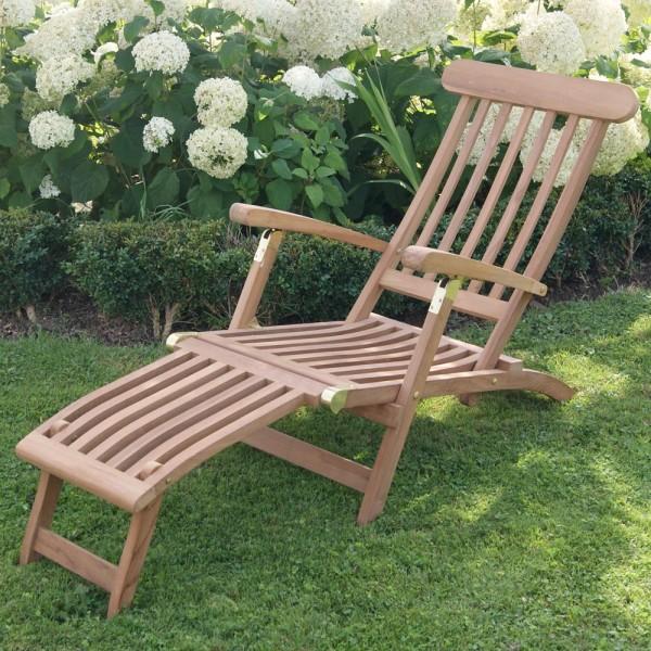 Deckchair Teakholz massiv Gartenliege Liegestuhl Garten Liege Relaxliege …