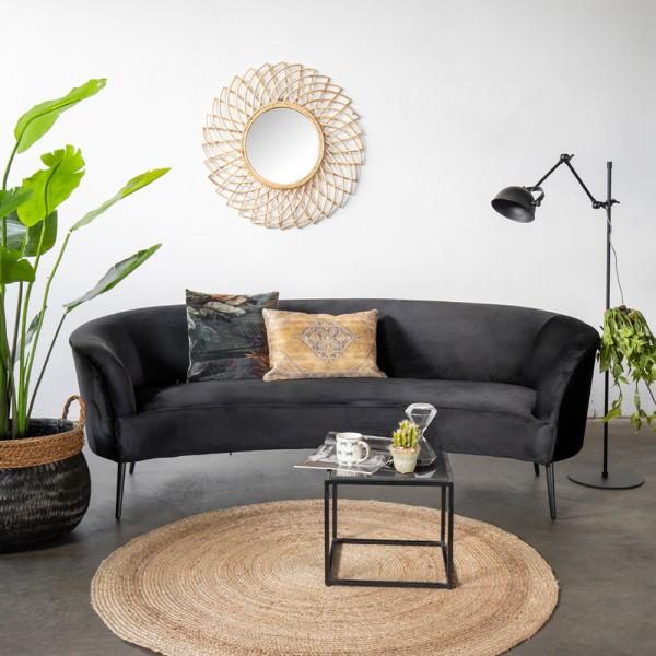 Giga 3 Sitzer Sofa Megan schwarz 218 cm Samt Sofabank