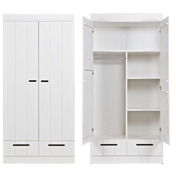 Kleiderschrank System CONNECT BASIC Kiefer 2 Türen + Schubladen