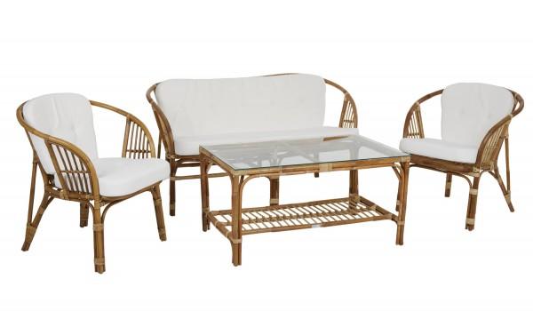 Gartenmöbel Lounge Set ASTRAKAN Rattan incl. Kissen
