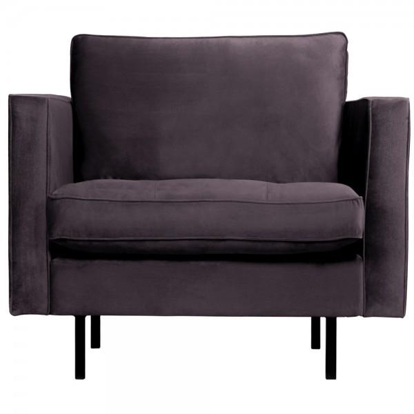 1,5 Sitzer Sessel Rodeo Classic Samt dunkelgrau Lounge Armlehnsessel Fernsehsessel
