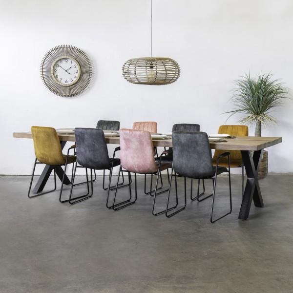 Esstisch Duro 300 x 100 cm Mango Massivholz Metall schwarz