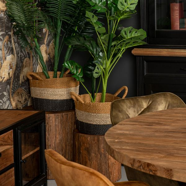 Couchtisch Baumstamm rund Ø 45 cm Teakholz Sofatisch Tisch Beistelltisch