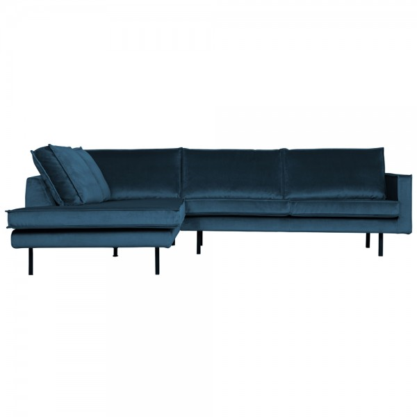 Eckgarnitur Rodeo Samt blau Couch Sofa Ecksofa Longchair links
