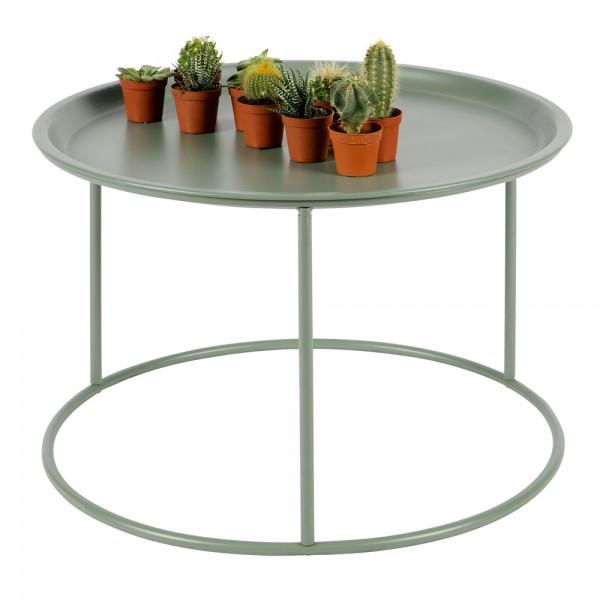 Beistelltisch Couchtisch IVAR Ø 56 cm Tisch Kaffeetisch Tablett Metall jadegrün