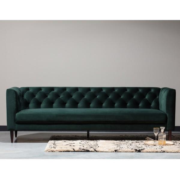 Woood 3 Sitzer Sofa Nisa Velvet Samt dunkelgrün Couch