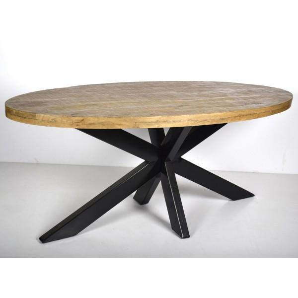 Esstisch Strong Oval 180 x 90 cm Mango Holz Metall