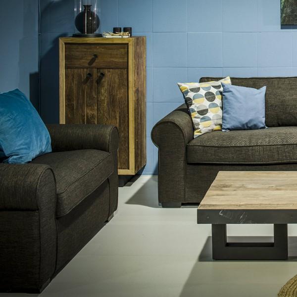 Love Seat Sessel Sofa WALLIS 135cm Lounge Couch Loungesessel Polstersessel braun