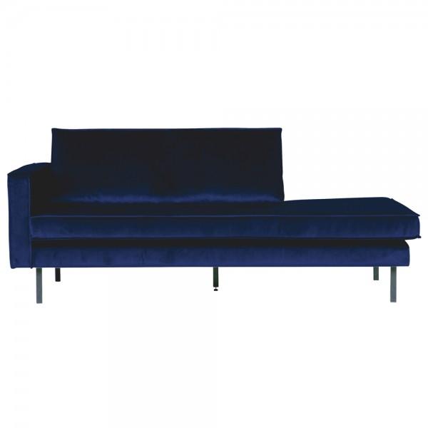 Sofa Chaiselongue RODEO Recamiere Samt dunkelblau links Tagesbett