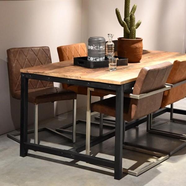 Esstisch GHENT 200 X 100 Cm Mango Massivholz Metallgestell Tisch  Esszimmertisch