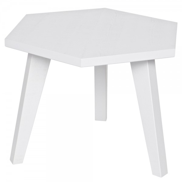 Vintage Couchtisch HEX Beistelltisch Anstelltisch Tisch Sofatisch Holz Kiefer weiß
