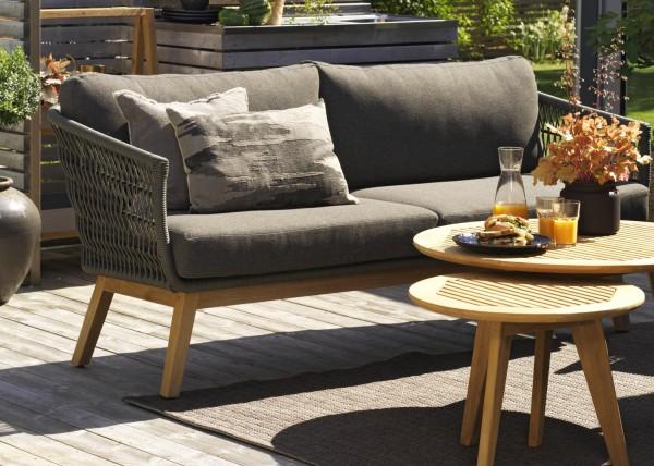 3 Sitzer Lounge Gartenbank Sofa Kenton Polyrattan Teakholz incl. Polster