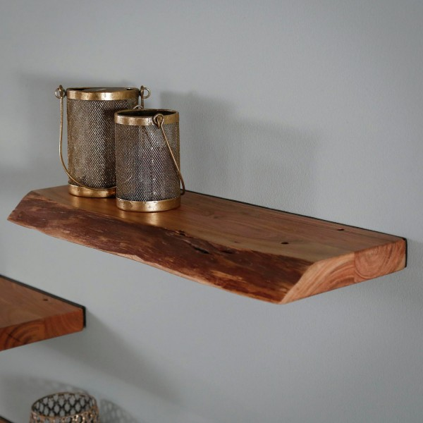 Wandregal Baumkante 60 cm Akazie Massivholz Regal