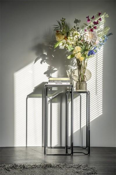 2er Set Beistelltische Olit small Metall Glas Blumensäule
