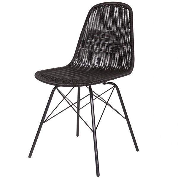 2´er Set Stuhl SPUN schwarz Rattan Büro Esszimmerstuhl Küchenstuhl Lehnstuhl