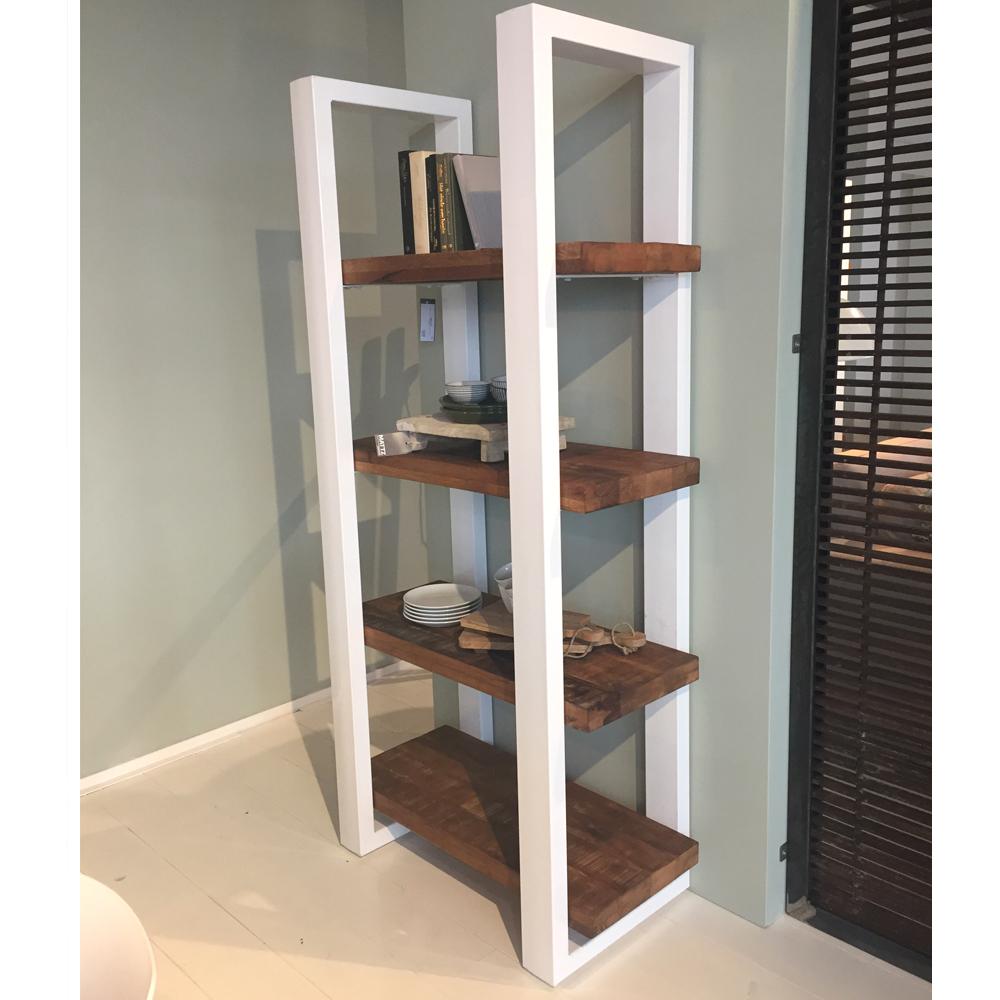 b cherregal 200 x 94 cm massivholz aufbewahrung schrank regal metall wei new maison esto. Black Bedroom Furniture Sets. Home Design Ideas