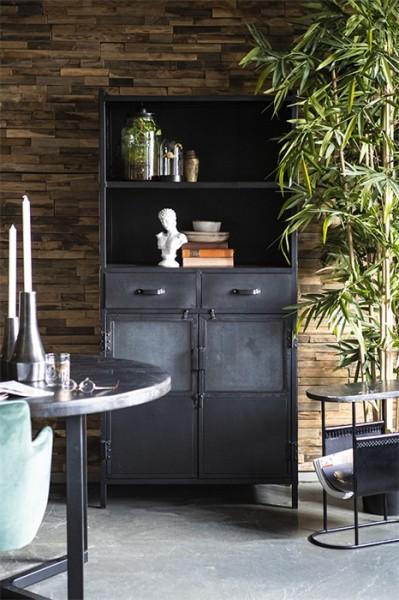 Bücherregal Schrank schwarz Industrie Design Metall 2 Türen