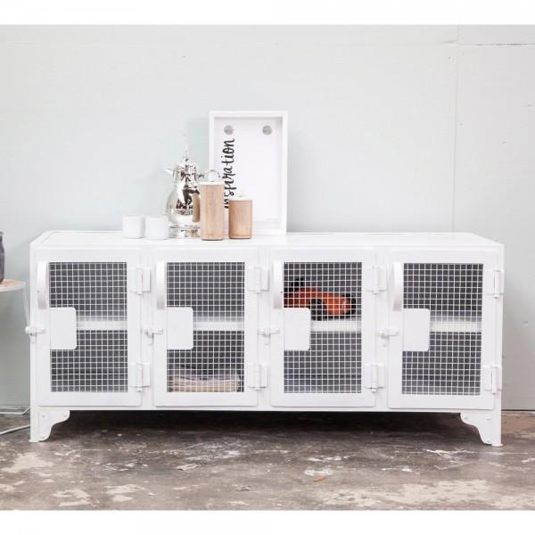 industrie design tv m bel tisch fernseh kommode tv rack board metall wei new maison esto. Black Bedroom Furniture Sets. Home Design Ideas