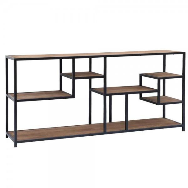 Sideboard Flow B 160 cm Beistelltisch Lowboard Mango Massivholz Metall schwarz