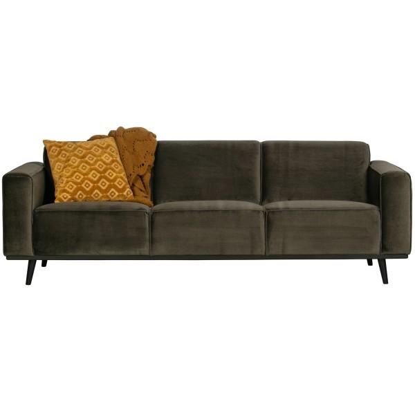 BePureHome 3 Sitzer Sofa STATEMENT Samt warmgrün