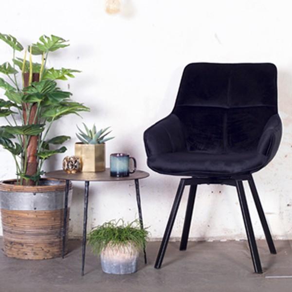 Esszimmerstuhl drehbar Shannon Samt schwarz Stuhl