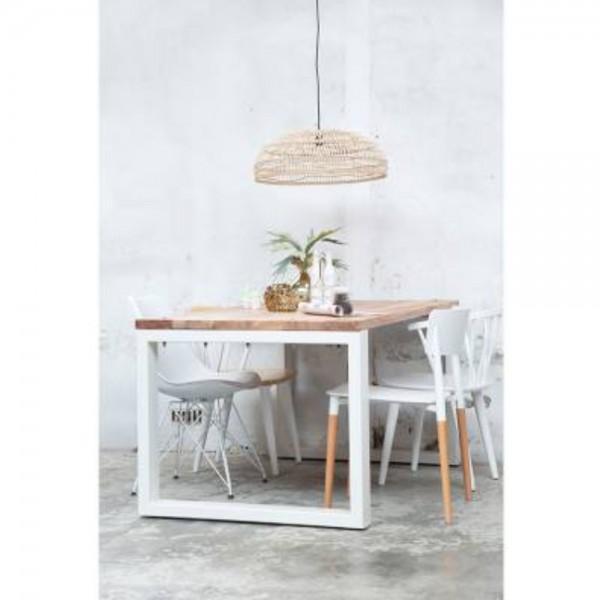 Industrie Esstisch 200 x 100 cm weiß Esszimmertisch Massivholz Dinnertisch