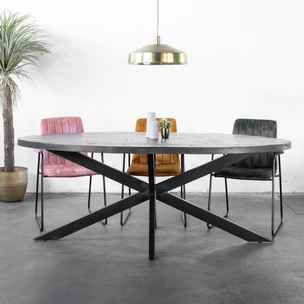 Giga Esstisch Mansour 220 x 100 cm Mango Metall schwarz
