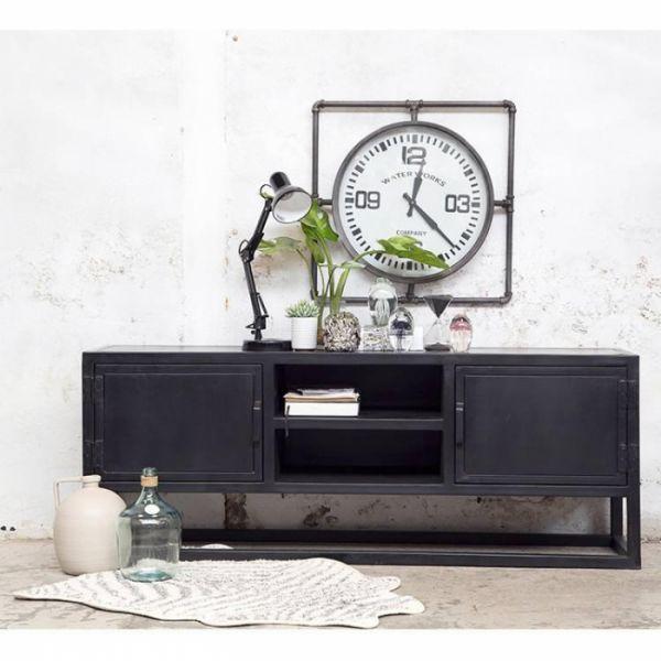 Industrie TV Möbel IRON Lowboard Metall Sideboard schwarz