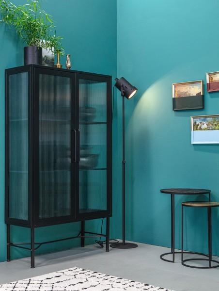 woood Vitrine Zion H 150 cm Metall schwarz Glastüren