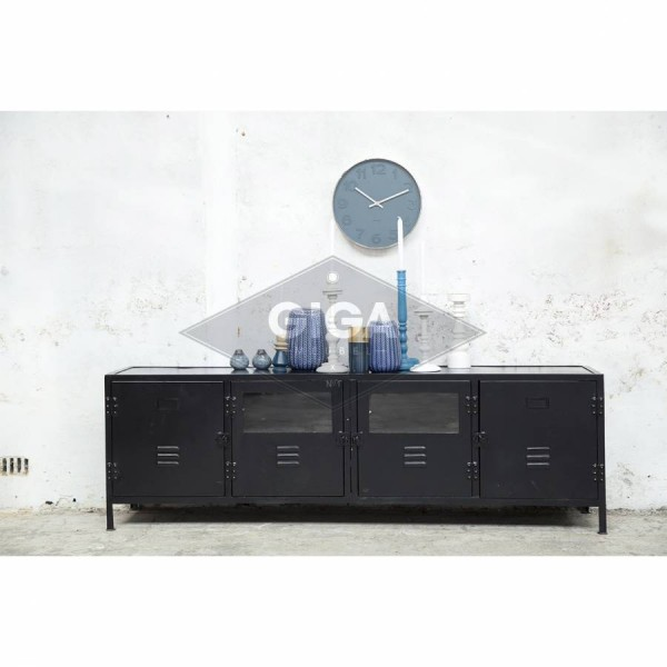 Industriedesign TV Möbel LOCKER 190 cm Lowboard Fernseh Kommode Metall schwarz