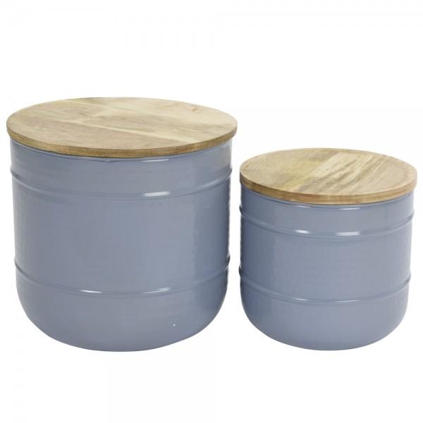 2er Set Beistelltisch mit Holzdeckel Metall vintage grau/blau Ø 35/45 Couchtisch