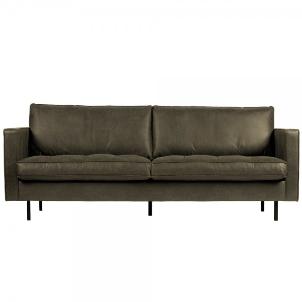 2,5 Sitzer Sofa Rodeo Classic armygrün recyceltes Leder
