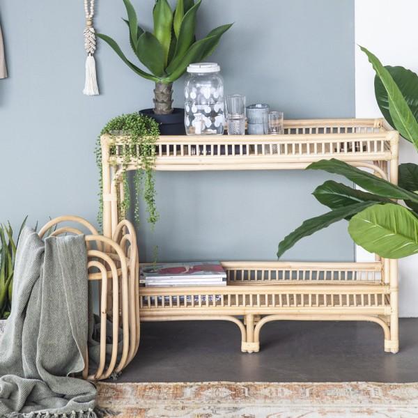 Regal Sonnet B 100 cm Rattan beige Beistelltisch Konsole Sideboard