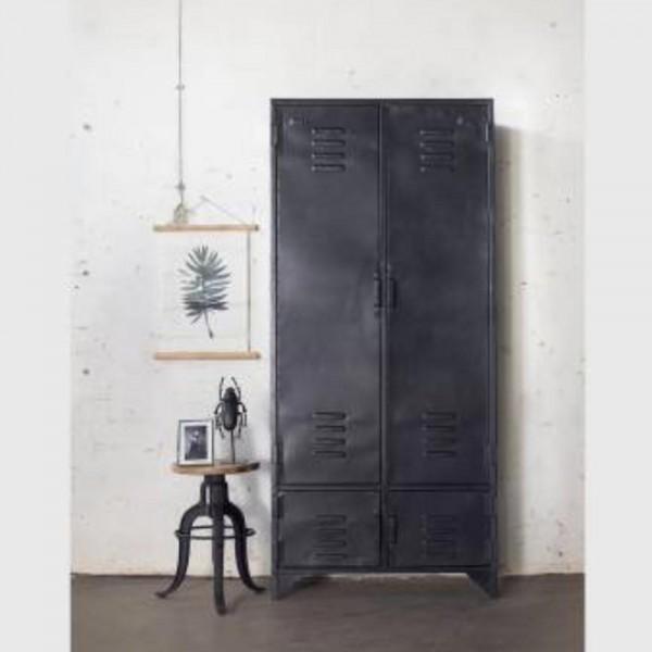 Industrie Design Spindschrank Toni 4 Türen Metall vintage schwarz