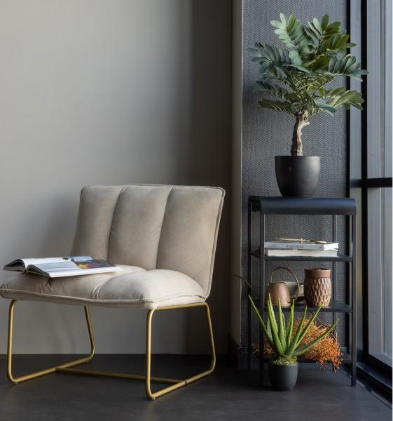 Eleganter Sessel Fie Ribcord beige mit golden Beinen