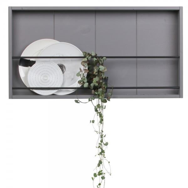 Hängeregal Setzkasten Swing Regal 73 x 38,5 cm Küchenregal Wandregal Kiefer grau