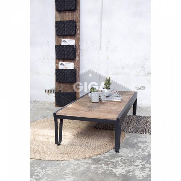 Couchtisch MITHA 120 x 60 cm Massivholz Metall Sofatisch Beistelltisch Tisch