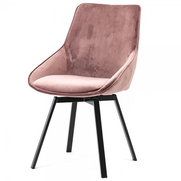 BY-BOO Esszimmer Stuhl drehbar Beau Samt pink