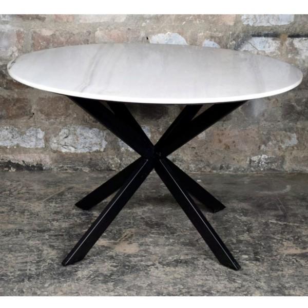 Esstisch Jacky Marble rund Ø 120 cm Marmor weiß Metall
