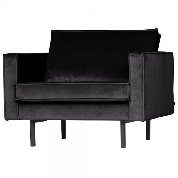 1,5 Sitzer Sessel Rodeo Samt schwarz Lounge Armlehnsessel Fernsehsessel