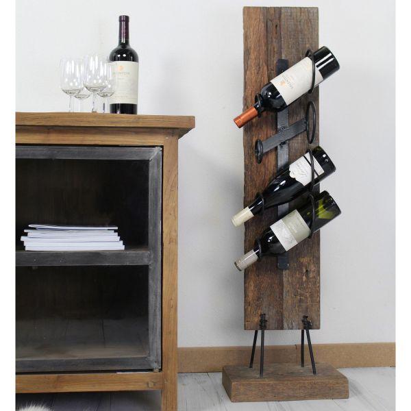 Weinflaschenhalter Flaschenständer H 100 cm 4 Flaschen Teakholz