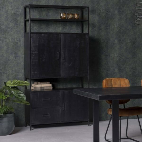 Schrank Kala B 100 cm Mango Massivholz Metall schwarz