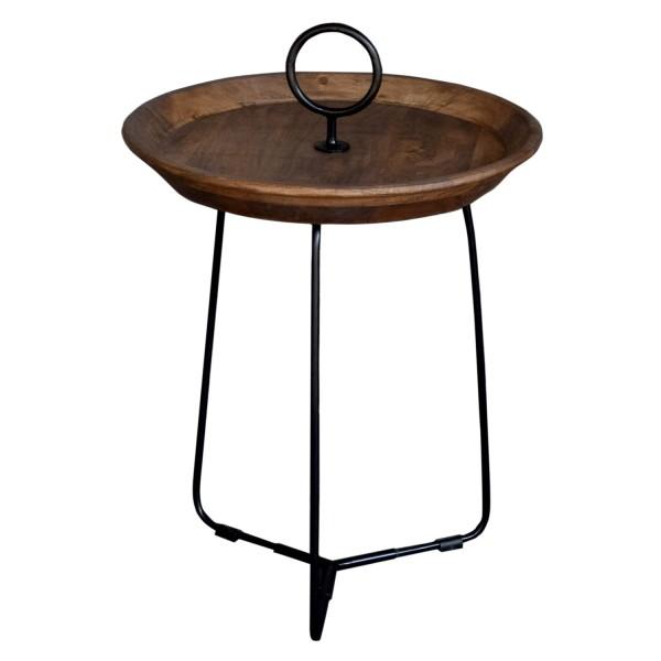 Beistelltisch Nancy S Ø 45 cm Massivholz Metall Anstelltisch Couchtisch Tisch
