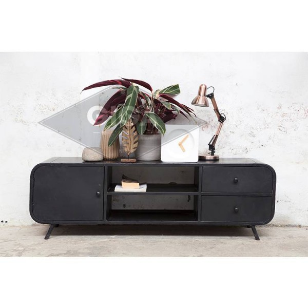industrie design tv m bel retro 160 cm lowboard rack board fernsehtisch schwarz new maison. Black Bedroom Furniture Sets. Home Design Ideas