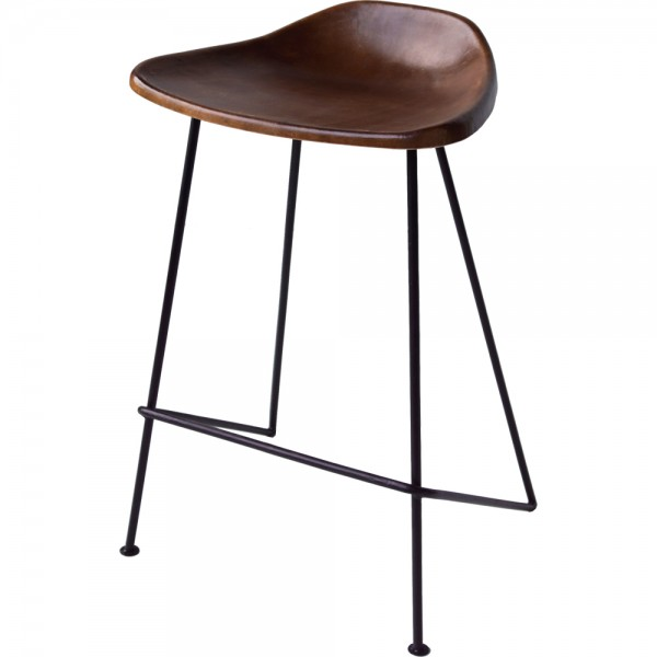 4er Set Industrie Design Barhocker SH 63 cm Sitzhocker Küchenhocker Hocker Metall Leder braun